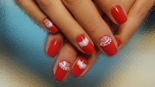 Дизайн ногтей гель-лак shellac - Слайдер + стразы + жемчуг (видео уроки дизайна ногтей)