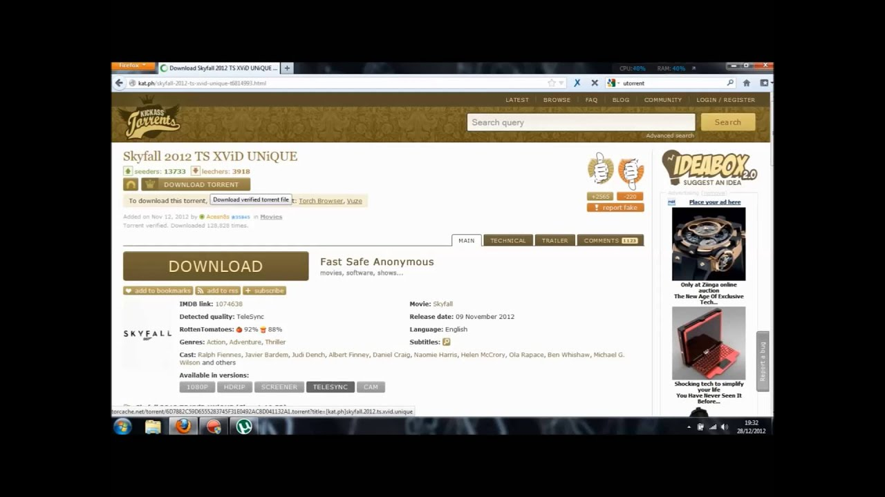Use the KickassTorrents platform on Android
