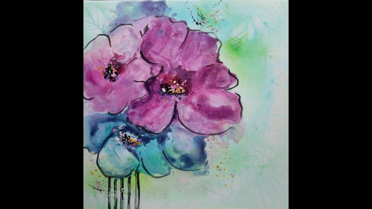 Schnelle version acrylmalerei tutorial blumen painting for Pinterest blumen