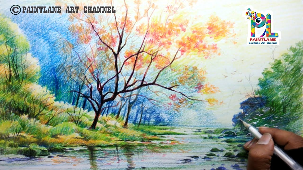 How To Draw Scenery Of Morning For Beginners With Color Pencils Step By Step Youtube