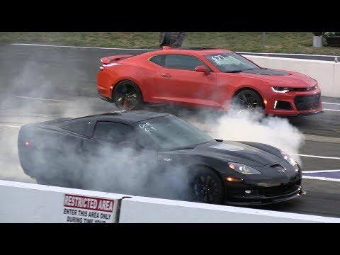 Zr1 Corvette Vs ZL1 Camaro And Vs Zo6 Corvette - Drag Race