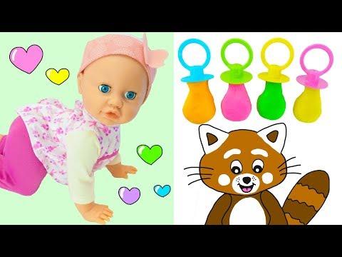 Pukkins Gör Roliga Nappar Med Dockan Baby Agnes-Lek Med Oss