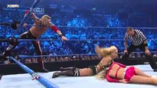WWE Smackdown 4/2/11  Dolph Ziggler & LayCool vs Kelly Kelly & Edge (World Heavyweight Championship)