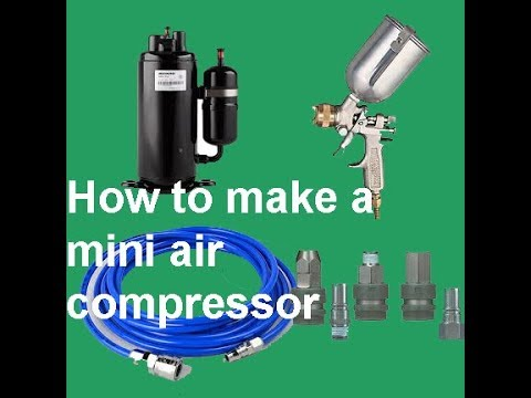 How to make a mini air compressor  and Spray Painting from an air conditioner compressor
