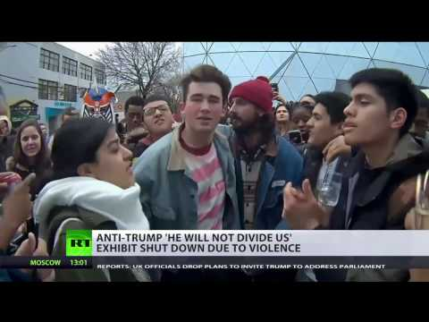 He will not divide us? Shia LaBeouf's anti-Trump exhibit shut down due to violence