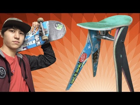 スケボーからイスを作ってみた!Making a stool from skateboards!