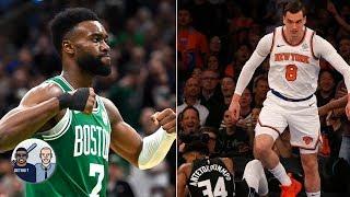 More disrespectful dunk on Giannis Antetokounmpo: Mario Hezonja or Jaylen Brown? | Jalen & Jacoby
