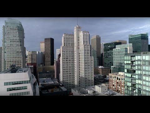 Beautiful 4K Aerial footage downtown San Francisco December 2017