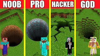 Minecraft Battle: TUNNEL HOЏSE BUILD CHALLENGE - NOOB vs PRO vs HACKER vs GOD / Animation PIT HOLE