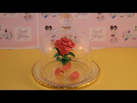 Como fazer mini rosa encantada na cúpula da Bela e a Fera em EVA. Mini rosa Bella y la bestia. foami