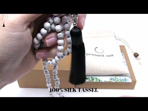 Best Premium Howlite Gemstone Mala Meditation Beads  - Present Self