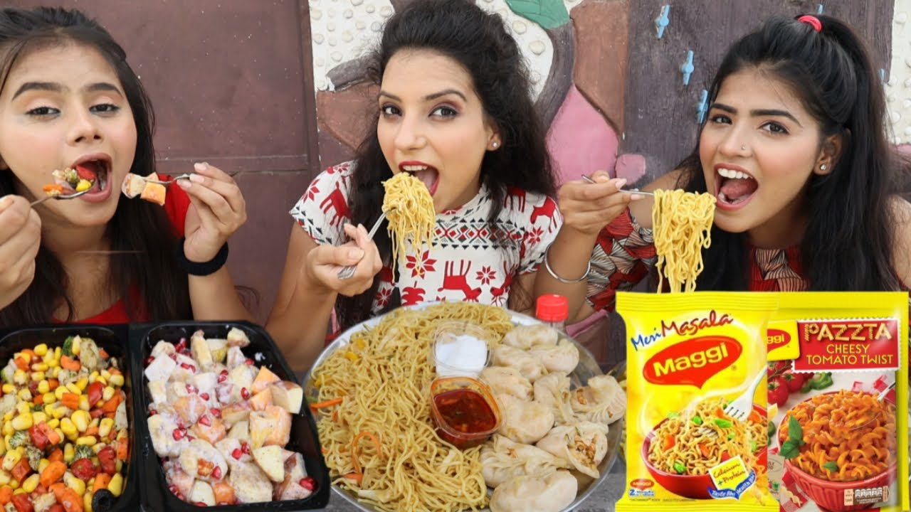 Junk Food Vs Packed Food Vs Healthy Food Challenge   Maggi, Momos, Chow Mein, Pasta   Food Challenge