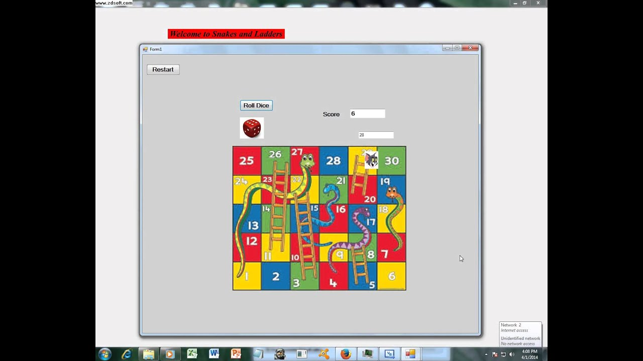 Simple Visual Basic Snakes And Ladders Game