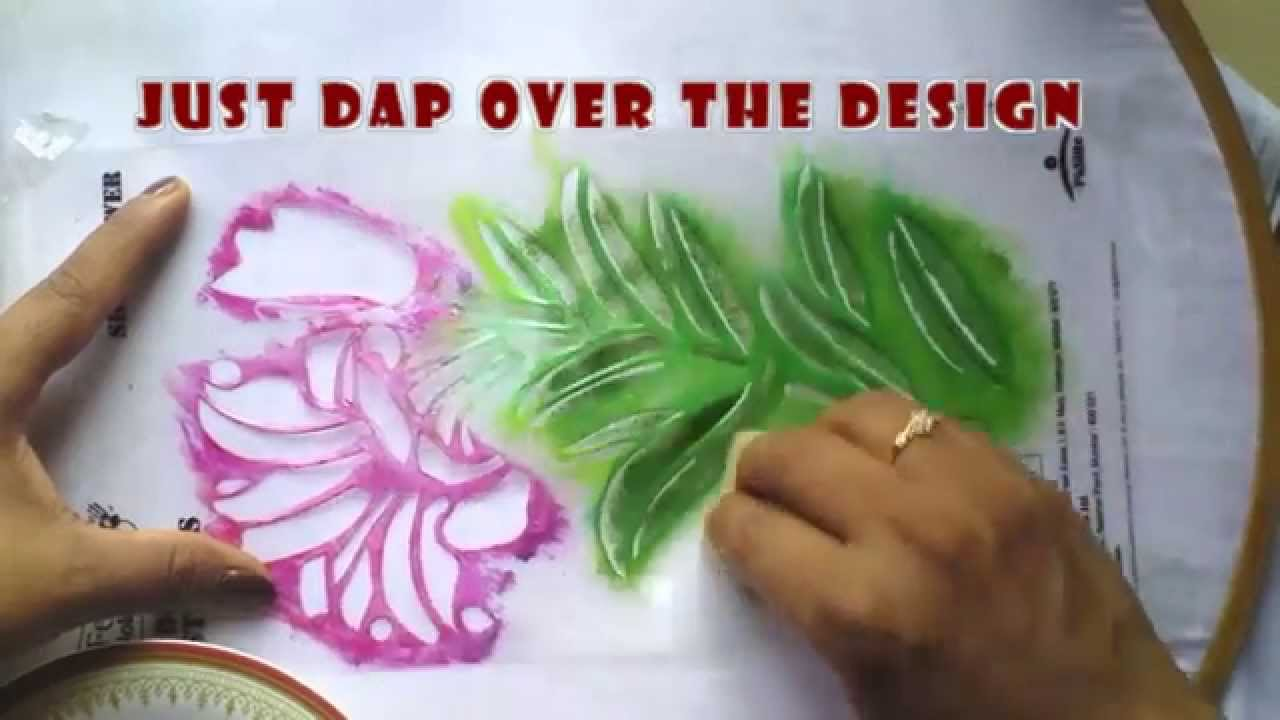 Stencil painting in fabrics youtube amipublicfo Images