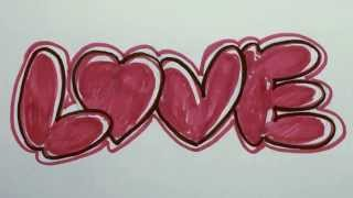 How to Draw Graffiti Letters - LOVE in Bubble Letters   MAT