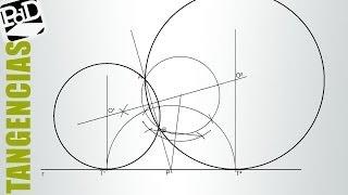 Circunferencias tangentes a un recta pasando por dos puntos. (Tangencias / Potencia)