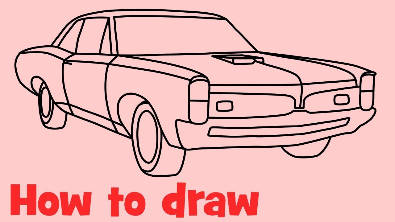 How to draw a car Pontiac GTO 1967 step by step  YouTube