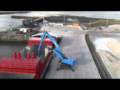 New Terex Fuchs MHL 385 port handler working at Port of Workington