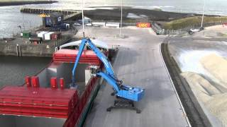 New Terex Fuchs MHL 385 port handler working at Port of Workington