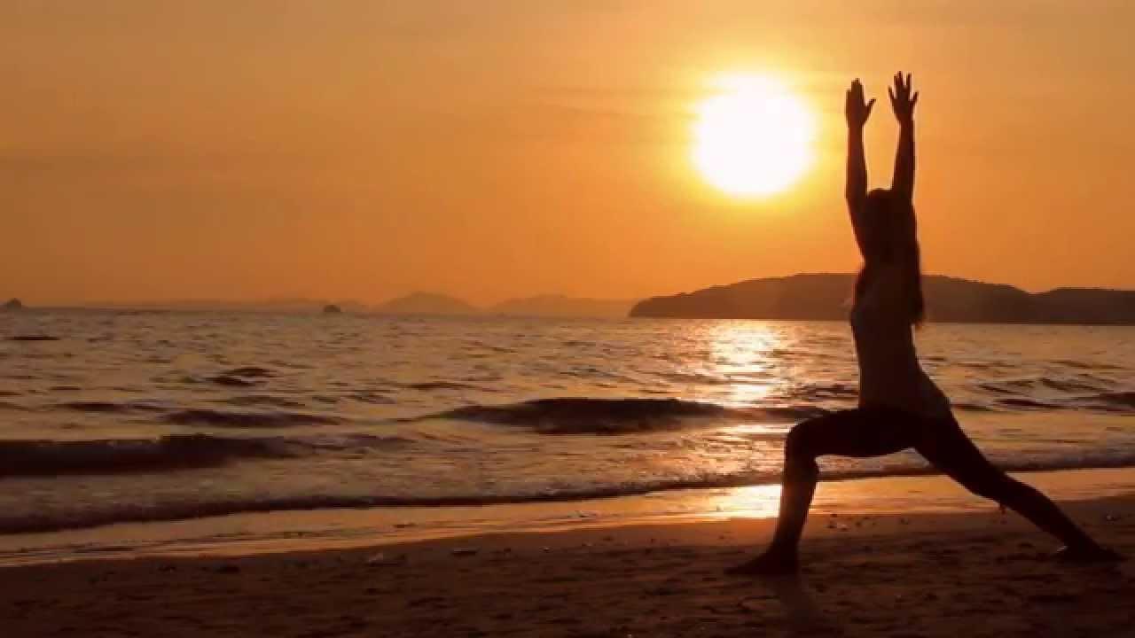 Sunset Beach Yoga 2 Closer Tanurix Stock Footage Ns