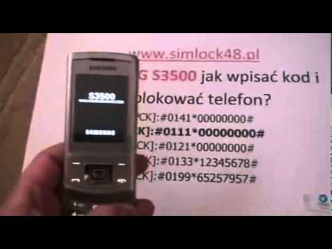 Simlock Samsung s3500 jak wpisać kod, Unlock Samsung s3500 YouTube