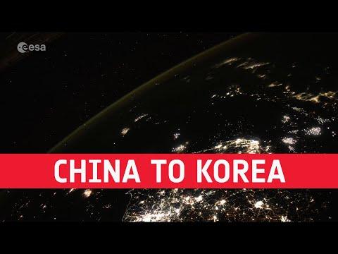 China to Korea at night timelapse