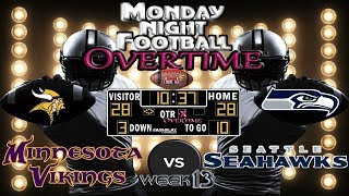 MONDAY NIGHT FOOTBALL WK#13 |  Vikings @ Seahawks | MNF OVERTIME🏈🏈🏈 #LouieTeeLive