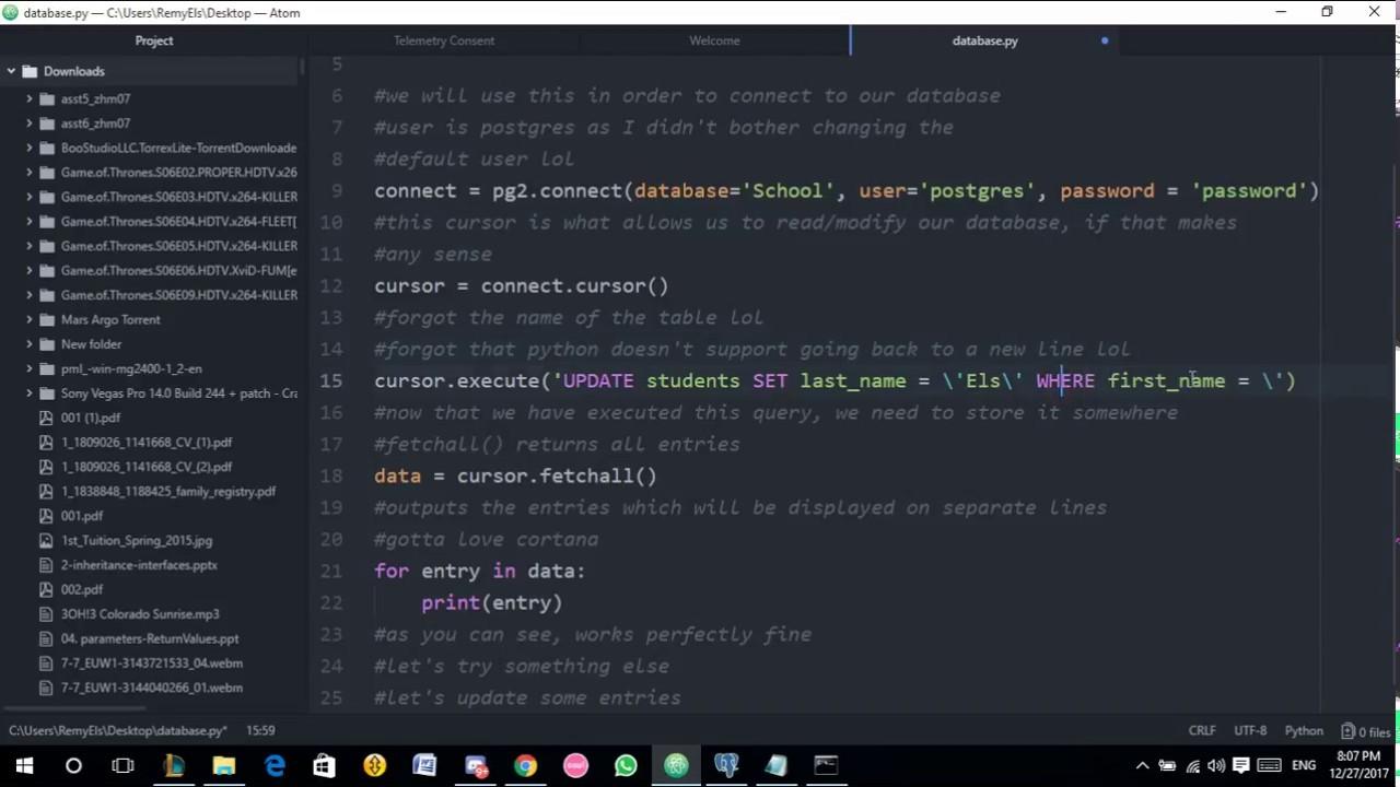 Psycopg2 (Python) w/ PostGreSQL