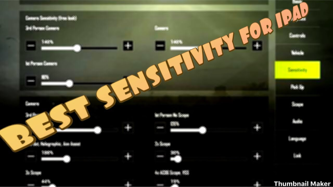 BEST SENSITIVITY SETTING IN PUBG FOR IPAD PRO - YouTube