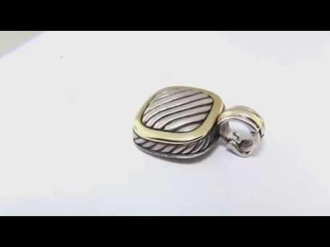 DAVID YURMAN CABLE CLASSICS 925 STERLING SILVER & 18K 750 GOLD SQUARE PENDANT