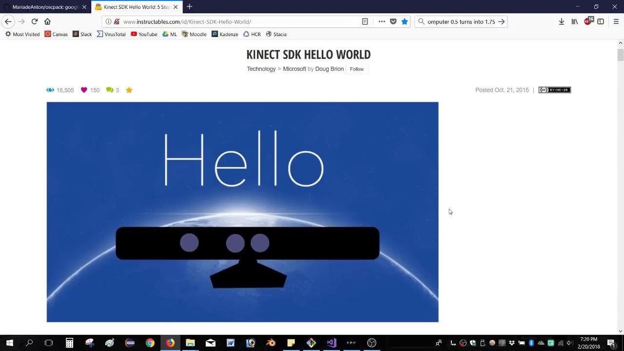 Tutorial - using Kinect SDK with Visual Studio