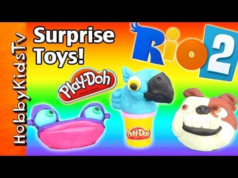 PLAY-DOH Rio 2 Surprise Toy Eggs FROZEN MUPPET Blu Gabi Luiz Jewel by HobbyKidsTV