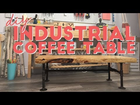 DIY LIVE EDGE INDUSTRIAL COFFEE TABLE
