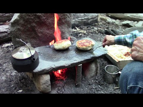 Thumbnail: Primitive Cooking Stuffed Bannock On A Stone