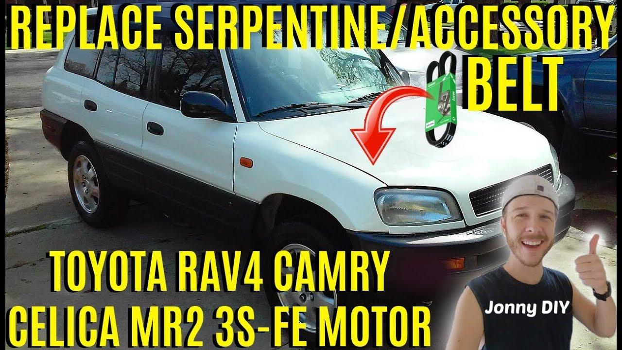 How To Replace Serpentine Accessory Belt Toyota Rav4 Camry Corolla Diagram 3s Fe Jonny Diy