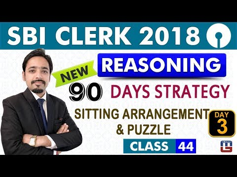 SBI Clerk Pre | 90 Days Strategy | Day 3 | Sitting Arrangement | Puzzle | 11:00 am | Class - 44