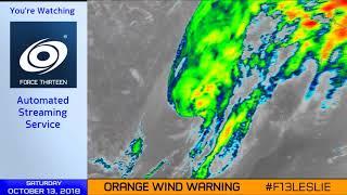 Hurricane Leslie nears landfall - 1pm Oct 13, 2018