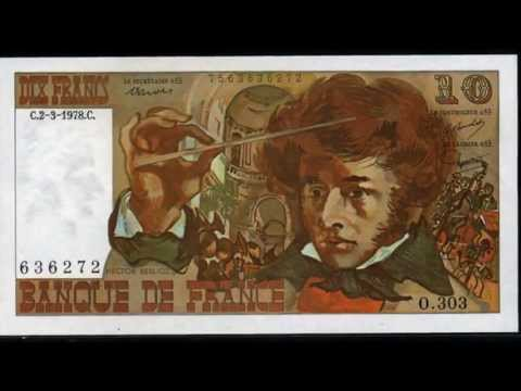 French banknotes French franc money currency of France before the Euro.