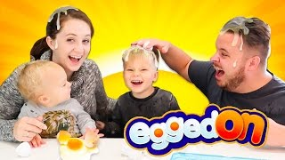 EGGED ON FUNNY EGG ROULETTE CHALLENGE! Toddler VS Mom and Dad! GROSS!