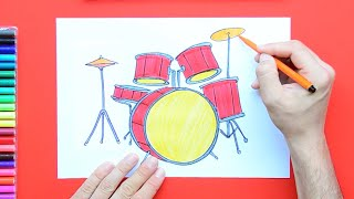 How to draw and color a Drum Set