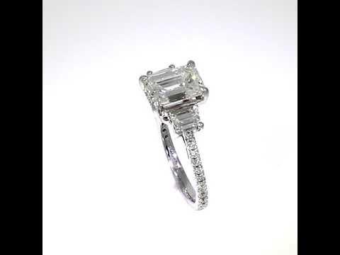 Bespoke Platinum Emerald Cut and Trapezoid Diamond Ring