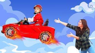 Funny Dima Ride on POWER WHEEL car La Ferrari and Flying