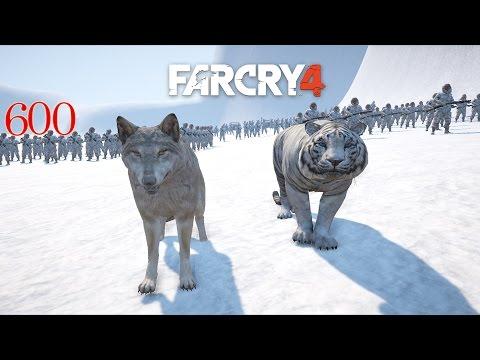 Tibetan Wolves & Rare White Bengal Tigers vs (Snow) Royal Army | Far Cry 4 Map Editor Battle