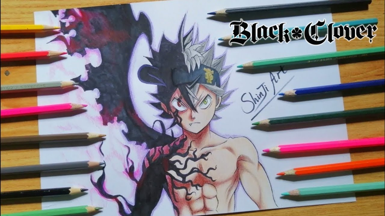 How To Draw Asta Demon Form Step By Step Black Clover Youtube