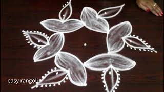 Diwali rangoli desgins with 5 dots || Deepam Kolam designs || Muggulu designs