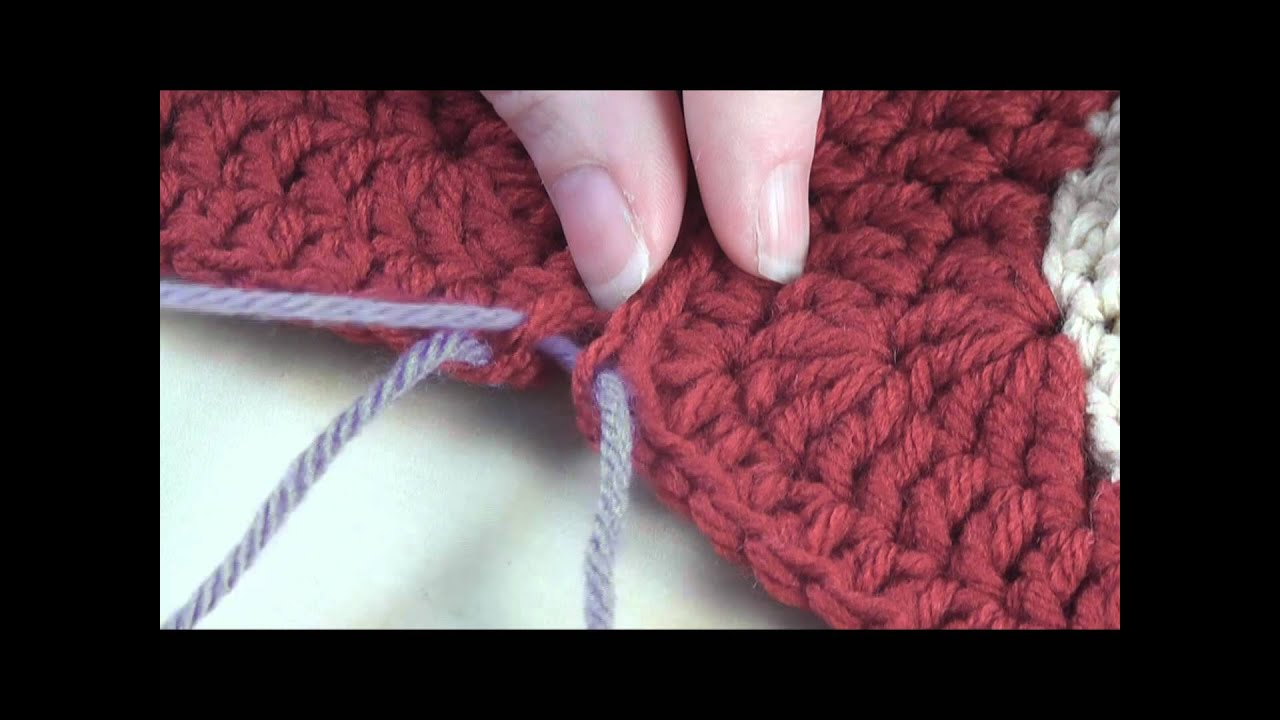 How To Sew Crochet Motifs Through The Back Loops Youtube