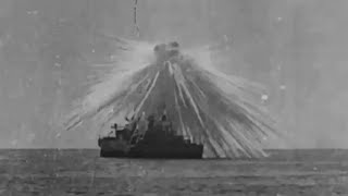 Battleship Aerial Bombardment Demonstration Obsolete Ships 1920s Vintage Footage General Mitchell thumbnail