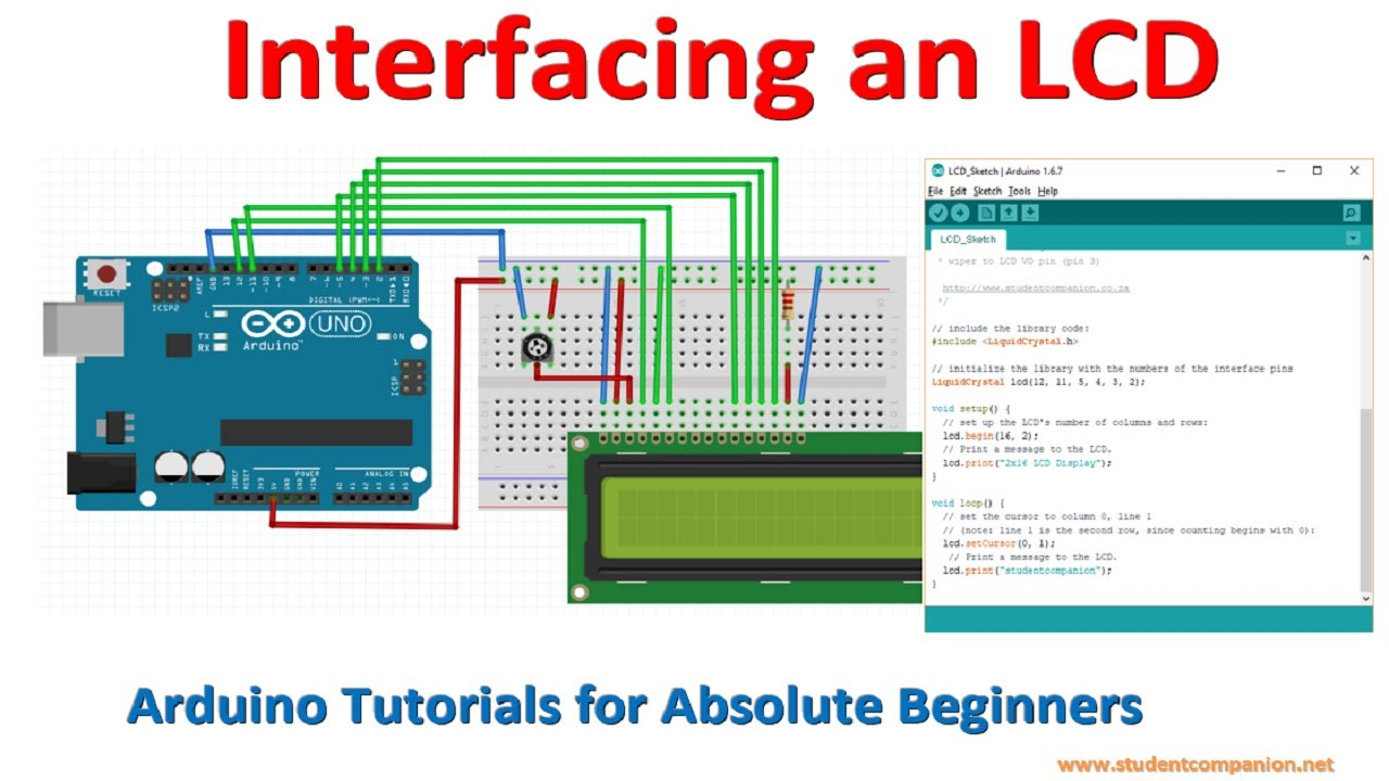 Arduino for Beginners Tutorial -5- Interfacing an LCD - YouTube on battery tester wiring diagram, arduino wire harness, arduino circuit diagram, lcd-display pin diagram, arduino display, arduino lcd clock, arduino uno pin diagram, 7 wire wiring harness diagram, arduino lcd speedometer, arduino pinout diagram, arduino lcd timer, arduino lcd fuel gauge, 16 pin harness diagram, motor shield wiring diagram, how lcd works diagram, arduino circuit 3, clarion 16 pin wiring diagram, arduino lcd screen,