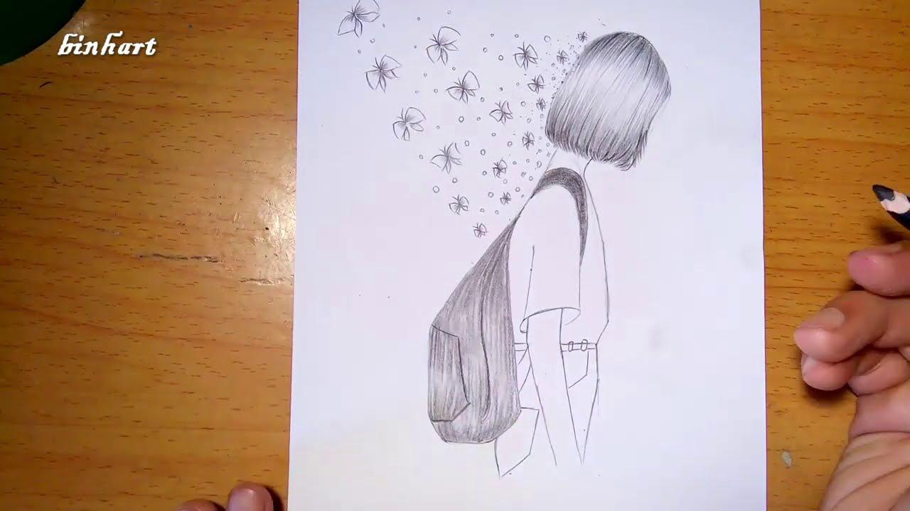 vẽ đơn giản    vẽ cô gái và đàn bướm    Draw girls and butterflies    pencil drawing  – binhart