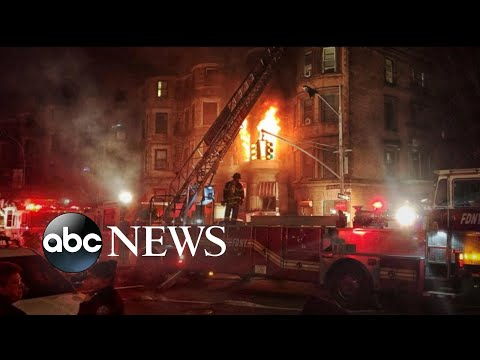 Download Youtube: Inferno kills firefighter and destroys movie set in New York City